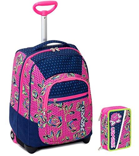 Seven trolley bambina astuccio - blu rosa - spallacci a scomparsa! zaino 35 lt scuola e viaggio - idea regalo natale