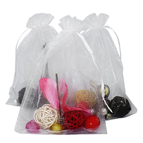 100 piezas, bolsas de organza extra grande 13X 18 cm, bolsas de regalo de organza con cordón para joyas, bolsas de regalo, bolsas de dulces, blanco