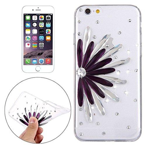 Wkae Case Cover Für iPhone 6 &6s Diamant verkrustete Glas-Katze-Perlen-Bell-Muster-weiche TPU-Schutzhülle Cover-Rückseite ( SKU : IP6G5600B ) IP6G5600E