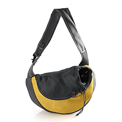 Kismaple Dog Carry Carrier Bag Front Outdoor Travel Oxford Single Shoulder Bag Sling for Small Pet Dogs Cats (S:38 * 10… 1