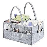 Baby Wickeltasche Tragbar Grau Multifunktionale Windel Tasche Unisex Wickel Taschen Modern mit Wandelbare Klett Fächer für Windeln /Baby Wipes