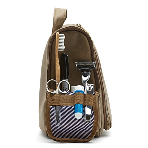 Mens Large Capacity Toiletry Wash Bag with Hanging Hook - Mocha