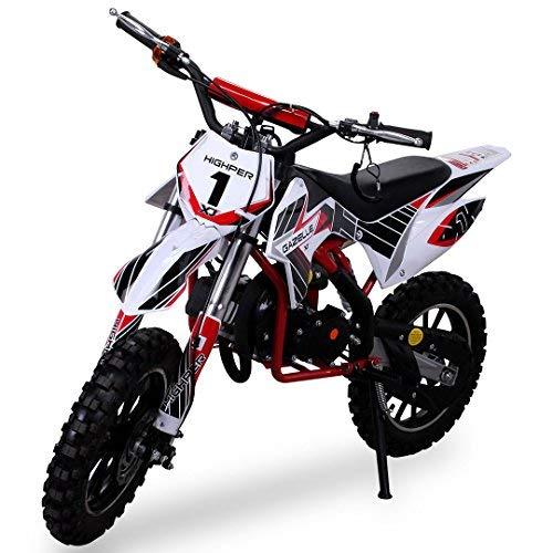 Actionbikes Motors Kinder Mini Crossbike Gazelle 49 cc 2-takt inklusive Tuning Kupplung 15mm Vergaser Easy Pull Start verstärkte Gabel Dirt Bike Dirtbike Pocket Cross (Rot)