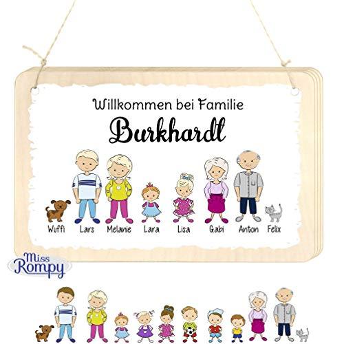Missrompy Türschild Familie aus Birkenholz massiv Verschiedene Ausführungen Familienschild Holzschild Wohnungsschild 012