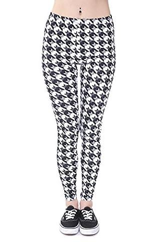 TRVPPY Leggings Gym Workout Sports Wear Hose Yoga Pants Training Fitness Print, Modell Schwarz/Weiß kariert Owl Eule