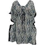 Mogul Interior Women's Tunic Ikat Print Tops Dress Medium Dark Olive Green