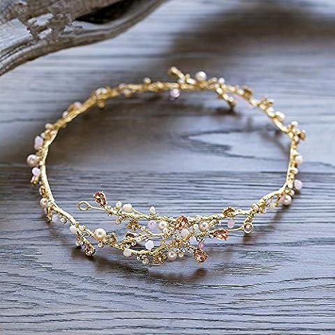 SUYU Copricapo per banchetti, copricapo da sposa, gioielli, ornamenti per capelli catena fatta a mano, morbido, fasce per capelli di cristallo artificiale