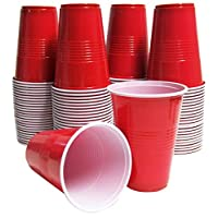 16 Oz. Red Plastic Cups, Disposable Glasses for Juices, Iced-Coffee, Pack of 100
