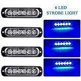 4pz Ultra Thin 6LED luci d'avvertimento di Emergenza Blu Hazard lampeggiante Strobe Light Beacon Light universale per 12-24V Car Truck Trailer Camper Motorcycle Furgone