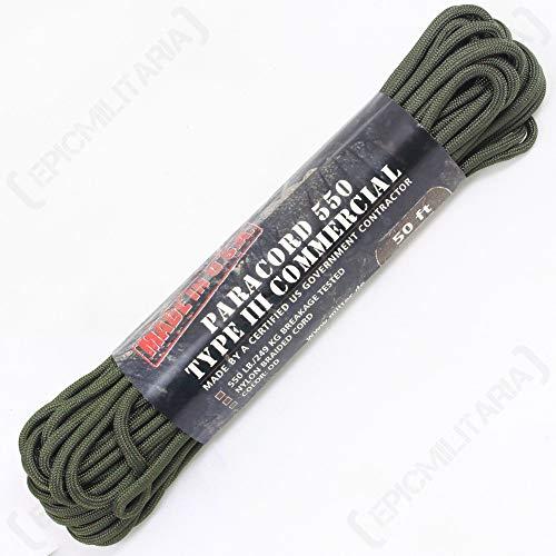 Mil-Tec 15,2 m États-Unis Compact Paracorde Militaire Corde – Vert Olive