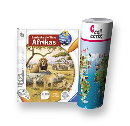 Ravensburger tiptoi ® Buch - Entdecke die Tiere Afrikas + Kinder Tier-Weltkarte - Tiere, Länder, Kontinente by Collectix