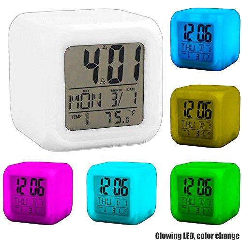 LED Wecker Würfelwecker Farbwechsel Uhr Alarmwecker Thermometer Kalender Weiß
