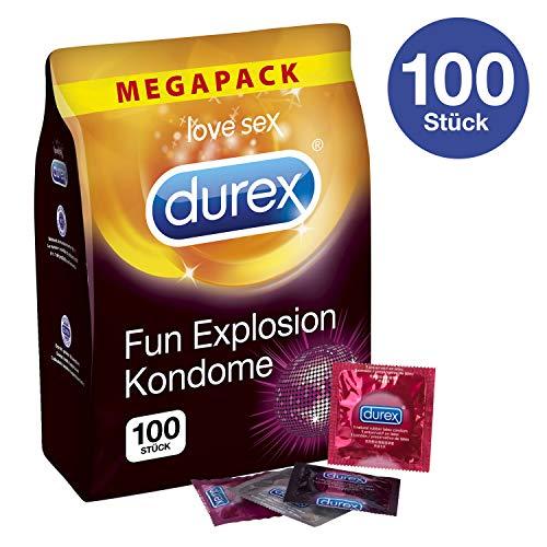 Durex Fun Explosion Kondome - Verschiedene Sorten für aufregende Vielfalt - Verhütung, die Spaß macht - 100er Großpackung (1 x 100 Stück)
