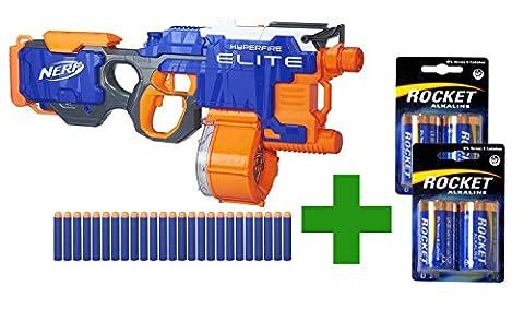 Hasbro Nerf N-Strike Elite Hyperfire Starter Pack: The ultra-rapid firing Full Auto Blaster with matching Batteries in a Bundle
