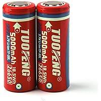 TUOFENG 26650 batería 5000mAh baterías recargables TUOFENG 3.7V batería de iones de litio para la linterna LED Herramientas eléctricas electrodomésticos (2pcs)