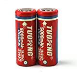 TUOFENG Batteria 26650, batterie ricaricabili 5000mAh Batteria agli ioni di litio 3,7 V per torcia a LED Utensili elettrici Apparecchi domestici per la casa (2 pezzi)