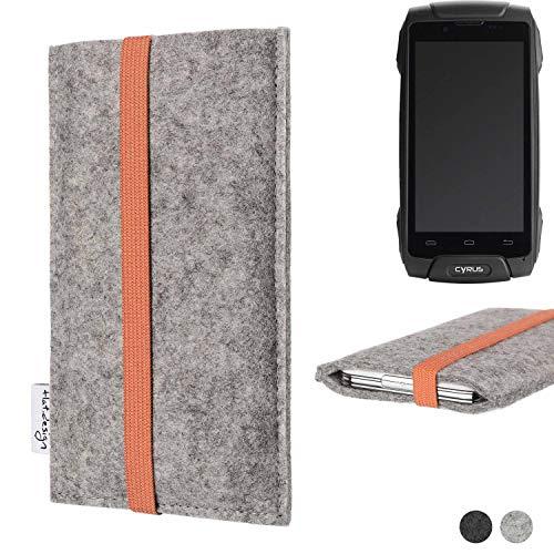 flat.design Handy Hülle Coimbra für Cyrus CS 30 - Schutz Case Tasche Filz Made in Germany hellgrau orange