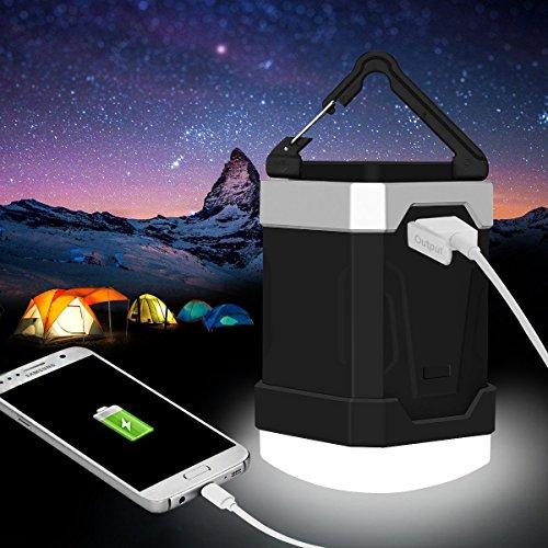 LED Camping Laterne, Yosoo Campinglampe Power Bank mit 13000mAh große Kapazität, mit Handy-Ladegerät, 4W IP65 wasserdicht wiederaufladbare Zelt Licht, 280 Stunden Licht aus einer einzigen Ladung - Portable für Ausfälle, Notfälle, Hurrikane, Wandern- Schwarz