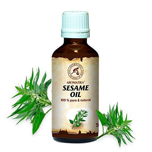 Sesam Körper-Öl (Sesam Öl, kaltgepresst und raffiniert, 100% naturreines und reines 50 ml, Sesamöl, Glasflasche, Basisöl, Mexican, reich an Vitaminen, Mineralien und Vitamin E, Körperöl, intensive Pflege für Gesicht, Körper, Haare, Haut, Nägel, Hände, Anti-Falten /Anti-Aging, rein verwendet, gut mit ätherischem Öl / für Schönheit / Beauty /Aromatherapie / Entspannung / Massage / Wellness / Kosmetik / Körperpflege / Entspannung / Sesame Oil von AROMATIKA)