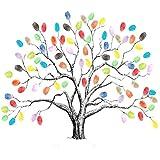 Mengger Fingerabdruck Baum Hochzeits mit stempelkissen Wedding Tree Leinwand DIY Gästebuch Partyspiel Leinwand für Jahrestag Geburtstag Signature,Fingerabdruck Baum