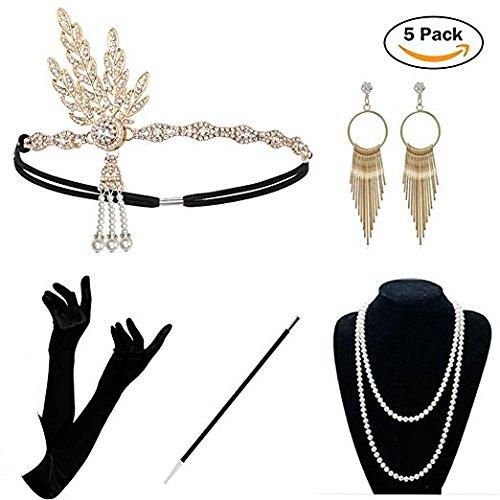 KQueenStar Damen Accessoires Set Halskette Handschuhe Zigarettenhalter Stirnband 20er Jahre 1920s Charleston Gatsby Retro Stil Kostüm Ball (Gold Set) (Gold Kostüm Halskette)