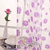 wyxhkj Tüll Voile Vorhang mit Ösen, Blumenprint Durchscheinend Atmungsaktiv Balkon Wohnzimmer Vorhang Bildschirme (C)