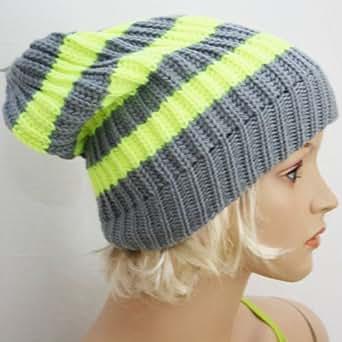 Slouch Beanie Long Mütze, Feinstrick Neon-Gelb