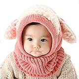 Ukamshop schön Baby Kinder warme gestrickt Schalkappe mit Ohren Hüte Beanie (rosa)