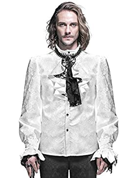 Devil Fashion Mens Gotico Camicia Maglietta Bianco Steampunk Regency Aristocrat + Foulard