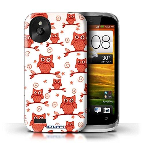 Kobalt® Imprimé Etui / Coque pour HTC Desire X / Rouge/Blanc conception / Série Motif Hibou Rouge/Blanc