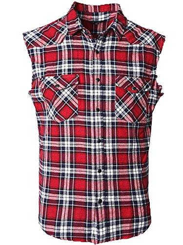 Herren Ärmellose Kariert Flanell Hemden Freizeithemd Sleeveless T-Shirt Rot und Schwarz M
