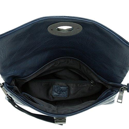 CASPAR TA339 Pochette da sera clutch da donna (Blu scuro)