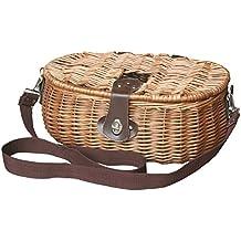 Rojo cesta mimbre cesta para aparejos de pesca, color marrón