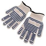 perfk 1 Paar feuerfest Backhandschuhe Topfhandschuhe BBQ Handschuhe hochtemperaturbeständig Rutschfest Fünf-Finger-Handschuh