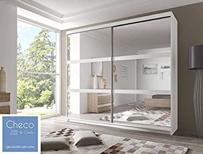 FAST&FREE DELIVERY SLIDING DOOR WARDROBE 7 ft 8 (233cm) 'REFLECTION' MULTI F10 WHITE - inexpensive UK light store.