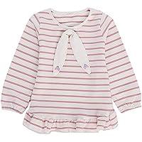 cinnamou Winter Baby-T-Shirt Gestreifter Karikatur-Bogen übersteigt Rüschen-T-Shirt Kleidung Herbst Winter Hemd Tops