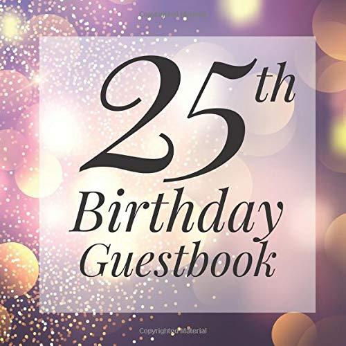 ook: Purple Gold Sparkle Bokeh Guest Book - Elegant 25 Birthday Wedding Anniversary Party Signing Message Book - Gift Log & Photo ... Keepsake Present - Special Memories Ideas ()