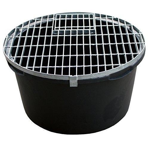 Set: PE Becken / Rundbecken + Abdeckgitter D=66cm, H=35cm, 90L für Wasserspiele u. Brunnen INTERGARDEN -