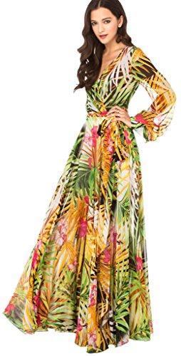 La Vogue-Vestito Manica Lunga Donna di Poliestere e Chiffon Fiore Tropicale della Stampa Colore 1 Petto di 98cm