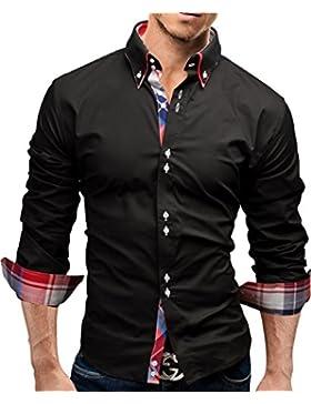 Merish Camicia Uomo Slim Fit,Camicia manica lunga adatto per tutte le occasioni,casual e chic, quadrato contrasto...
