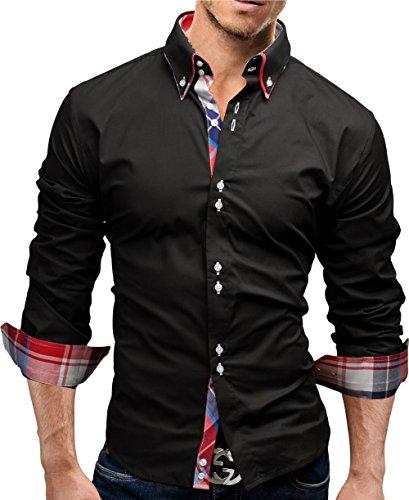 Merish Hemd Herren Kariert Kontrast Business Freizeit Karo 6 Farben Shirt Langarmhemd 207 Schwarz M