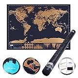 Weltkarte zum Rubbeln 1DOT2 Rubbel weltkarte - Landkarte inkl. Scratch-Werkzeug zum Freirubbeln scratch world map für Reisefreunde Backpacker Globetrotter Abenteurer und Weltenbummler Personalisierter Rubbelkarte 82*60cm, lebenslange Garantie