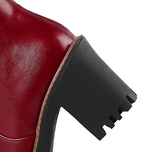 VogueZone009 Damen Mittler Absatz Niedrig-Spitze Rein Reißverschluss Stiefel mit Metallisch Weinrot