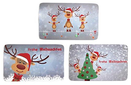 Bada Bing 3er Set Frühstücksbrettchen Weihnachten Rentier Rudolph Kinder