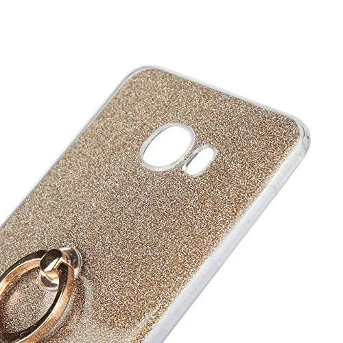 Luxus Bling Sparkle Style Case, Soft TPU [Silikon] Flexible Glitzer Rückentasche mit Fingerring Stand [Anti Scratch] [Shockproof] für Samsung Galaxy C7 ( Color : White ) Gold