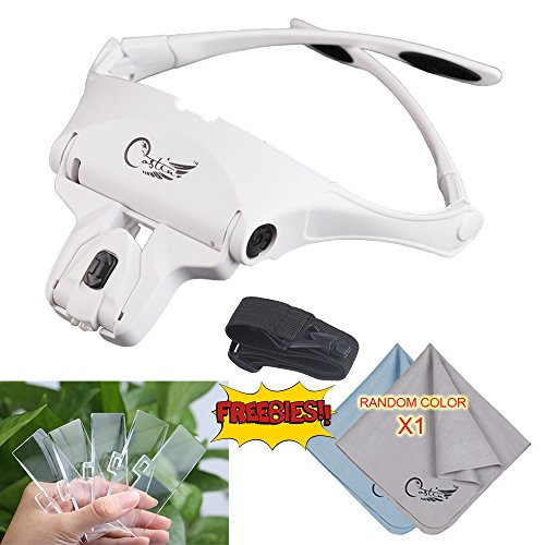 COSTIN Head-Mount Magnifier with 2 LED Light, Professional Headband Jeweler's Loupe with 5 Interchangeable Lenses For Skincare Beauty Cosmetic Makeup Tattoo Manicure / Nail Arts, Chinese White (Bridge Design Kinder)