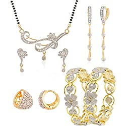 Jewels Galaxy Sparkling Floral Design AD Bangles, 1 Mangalsutra Set & 2 Earring - Combo of 4 (2.8)