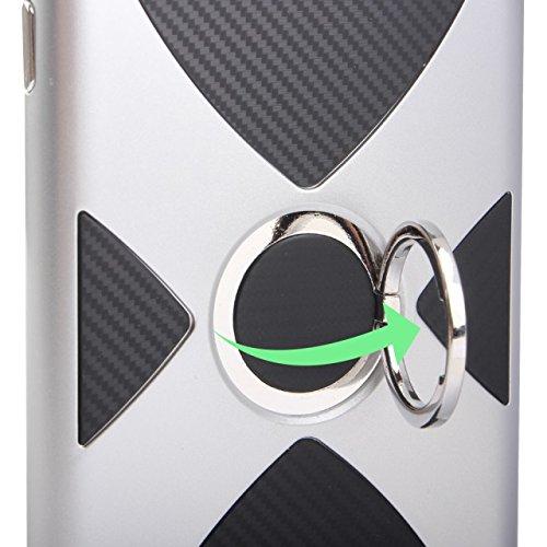 EKINHUI Case Cover Doppelschicht-Finger-Ring-Standplatz-Art-dünne rückseitige Abdeckungs-hybride Rüstung Shockproof Fall für iPhone 7 ( Color : Silver ) Gold