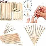 Chiodo doppio lato legno bastone 100pcs angolato bastoncini spingi cuticole rimozione per la cura delle unghie manicure strumenti utili