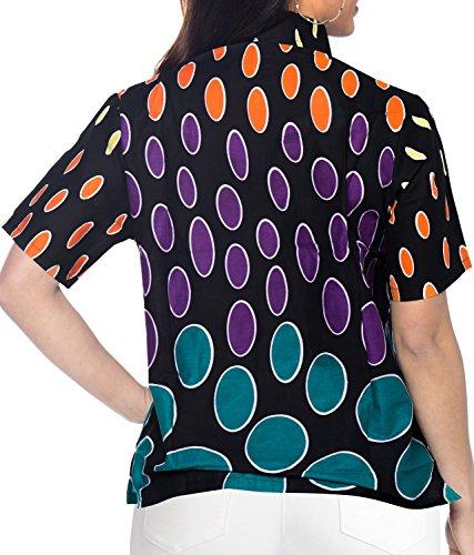 La Leela 100% Leichter Baumwolle 3 in 1 Aloha Karibik Lounge Batik Geo Top Frauen Klassische Buton Unten Bluse Kleid Knopf Unten Hawaiihemd Rosa Frische Minze Grün